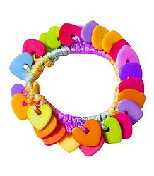 Multicolor Heart Shaped Stretch Bead Bracelet