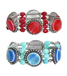 Set of 2 Red & Blue Stone Stretchable Link Bracelet