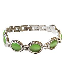 Green Stone Studded Metal Tennis Bracelet