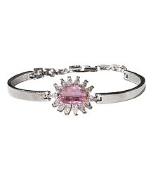 Pink Stone Studded Metal Tennis Bracelet