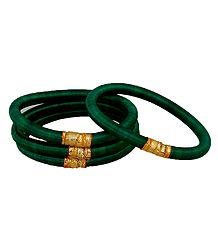 Set of 4 Green Thread Bangles