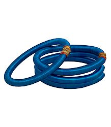 Set of 4 Cyan Blue Thread Bangles