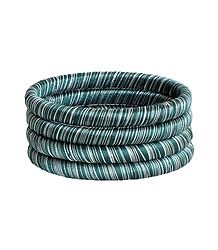 Green and White Thread Bangles