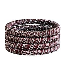Dark Brown and White Thread Bangles