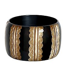 Brown with Off White Lacquered Wooden Bracelet