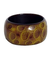 Yellow and Dark Brown Lacquered Wooden Bracelet