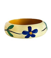 Ivory with Blue and Green Painted Bracelet