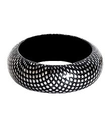 White Dots on Black Wood Bracelet