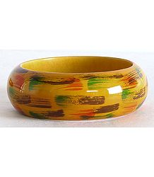 Yellow with Green and Brown Painted Bangle Bracelet