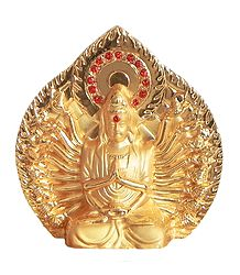 Gold Plated Metal Avalokiteshvara Statue