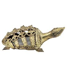 Brass Carved Tortoise - Dhokra Tribal Art
