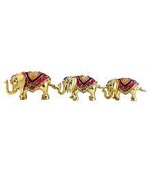Set of 3 Stone Studded Brass Elephant Containers