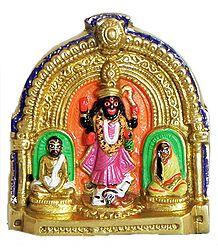 Mother Kali with Ramakrishna and Sarada Ma - Brass Statue