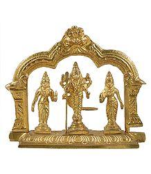 Lord Murugan with 2 Wives Valli and Devyani