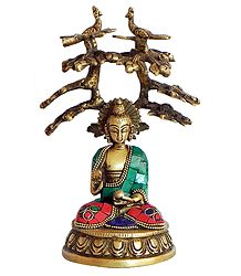 Brass Statue with Inlay