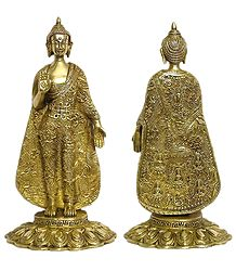 Preaching Buddha Wearing Robe Carved with Scenes and Stories from the Life of Buddha - Brass Statue