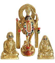 Dakshineshwar Kali with Ramakrishna Paramahansa and Sarada Ma - Brass Statue