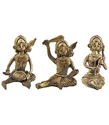 Set of 3 Village Women Brass Dhokra Statue