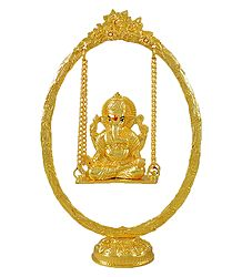 Gold Plated Ganesha on  a Swing