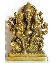 Ganesha Sitting with Riddhi and Siddhi on His Lap
