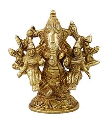 Lord Ganesha with Riddhi and Siddhi - Brass Statue