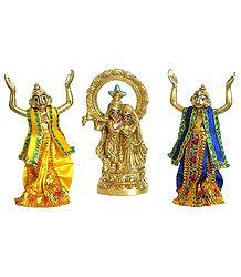 Gaur Nitai Singing Praises of Radha Krishna - Brass Statue