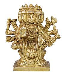 Goddess Gayatri - Brass Statue
