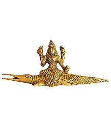 Goddess Ganga Sitting on Makara - Brass Statue