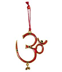 Red Lacquered on Brass Om