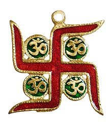 Lacquered on Brass Swastik with Om