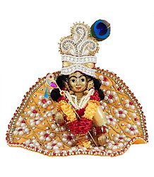 Laddu Gopal in Faux Pearl and Ruby Studded  Dress