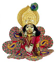 Bal Gopala in Gorgeous Dress with Gold Plated Ornaments