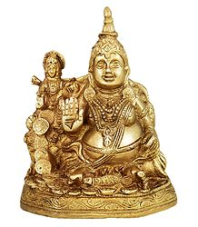 Buy Kubera with Lakshmi Brass Statue