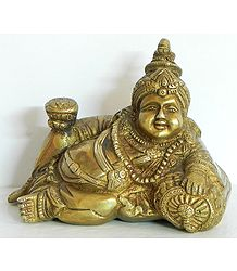 Kubera with Vessel of Nectar - Brass Statue