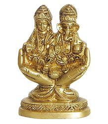 Lakshmi and Ganesh Sitting on Hand