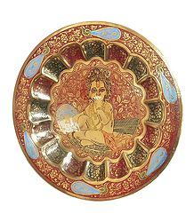 Multicolor Meenakari Brass Plate with Bal Gopal Design - Wall Hanging