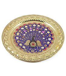 Meenakari Brass Plate with Peacock Design - Wall Hanging