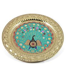 Meenakari Brass Plate with Peacock Design - Wall Hanging