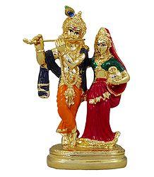 Radha Krishna - Gold Plated Statue