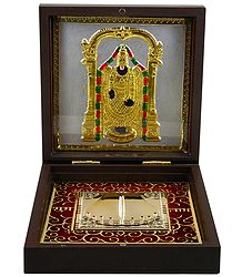 Lord Venkateshwara with Charan - Gold Plated Statue