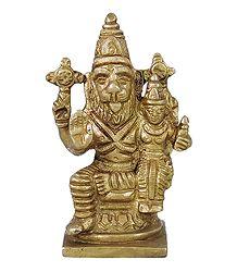 Brass Narasimha Avatar with Lakshmi