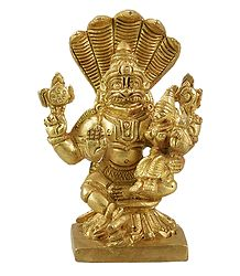 Narasimha Avatar with Lakshmi - Brass Statue