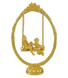 Gold Plated Radha Krishna on  a Swing