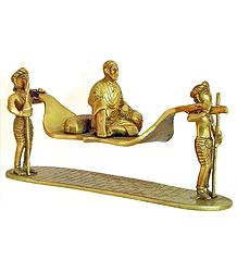Devotees Carrying Shirdi Sai Baba on Palanquin - Brass Statue