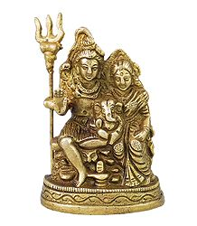Shiva, Parvati with Ganesha - Brass Statue