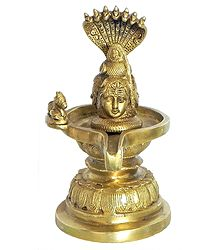 Brass Shiva Linga Protected by Vasuki