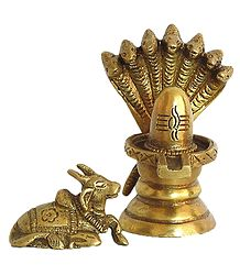 Shivalinga Protected by Vasuki and Nandi - Brass Statue
