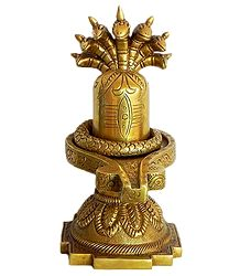 Shiva Linga with Seven Hooded Serpent - Brass Statue