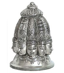 Silver Plated Nava Mukhalingam - Nine Faces of Lord Shiva