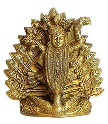Srinathji Standing on Peacock - Brass Statue